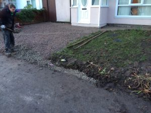 before our work on this west derby driveway installation